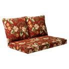 Tropiji 3-Piece Outdoor Seat & Back Loveseat Replacement Cushion Set - Red/Green Floral
