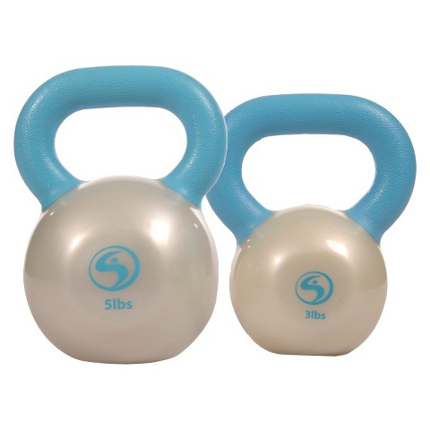 Kathy Smith Kettlebell Solution Workout Kit - Light Blue/ Pearl White