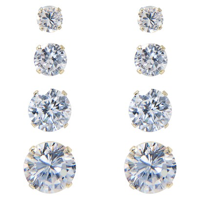 Gold Over Silver 4 Pair Round Cubic Zirconium Earring Set