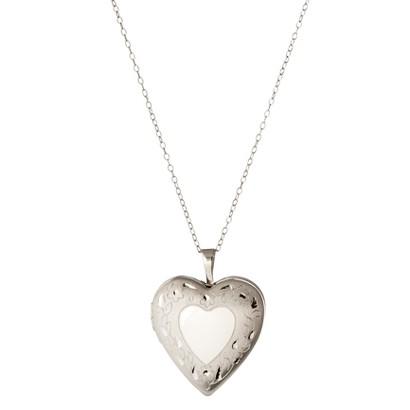 Sterling Silver Fancy Heart Locket Pendant