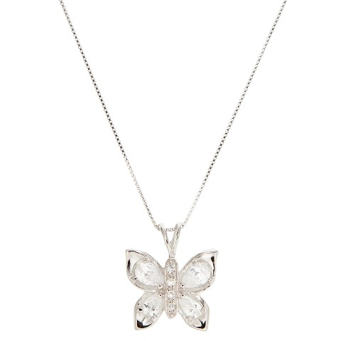 Sterling Silver Cubic Zirconium Marquis Butterfly Pendant