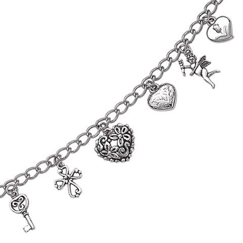 Sweet Hearts Charm Bracelet - Silver (7.5)