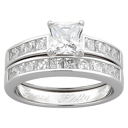 Sterling Silver Square Cubic Zirconia 2pc Wedding Ring