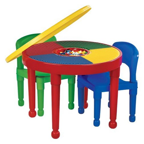 Tot Tutors Round Plastic Construction Table-2 Chairs & Cover