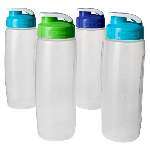 Rubbermaid® Refill Reuse™ 4-pk of 20 oz Clear Chug Bottles with Blue/Green Lids