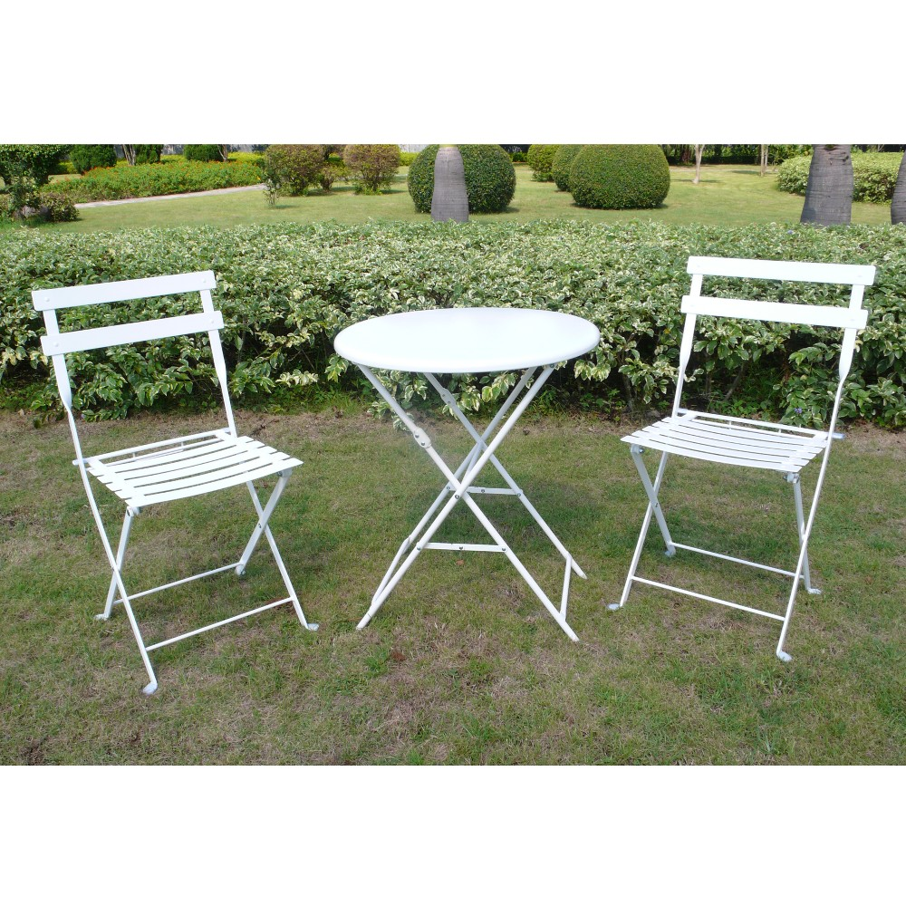 white 3 piece folding metal bistro furniture set. Black Bedroom Furniture Sets. Home Design Ideas