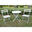 White 3-Piece Folding Metal Bistro Furniture Set