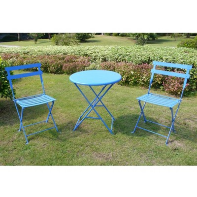 Blue 3-Piece Folding Metal Bistro Furniture Set