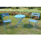 Blue 3-Piece Folding Metal Bistro Furniture Set