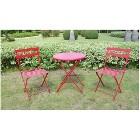 Red 3-Piece Folding Metal Bistro Furniture Set