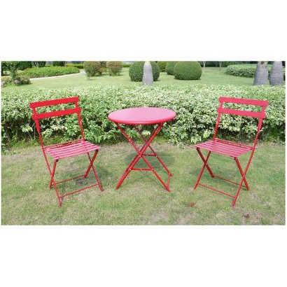 Red 3-Piece Folding Metal Bistro Furniture Set
