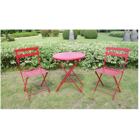 nureesa red 3 piece folding metal bistro furniture set sale view
