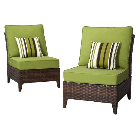 Belmont 2-Piece Brown Wicker Patio Armless Sectional Chair Set