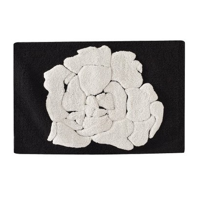 """Floral Bath Rug - Black/White (21x34"""")"""