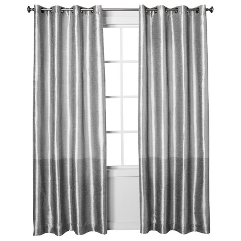 Threshold™ Banded Faux Silk Curtain Panel
