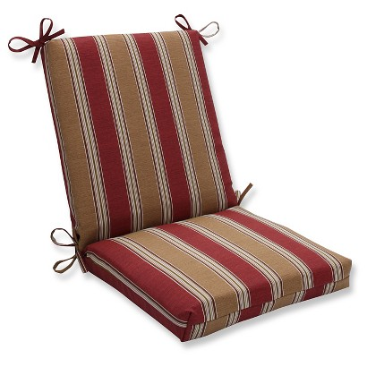 Outdoor Chair Cushion - Tan/Red Stripe