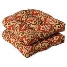 Outdoor 2-Piece Wicker Chair Cushion Set - Tan/Orange Geometric