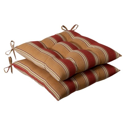 Outdoor 2-Piece Tufted Chair Cushion - Tan/Red Stripe