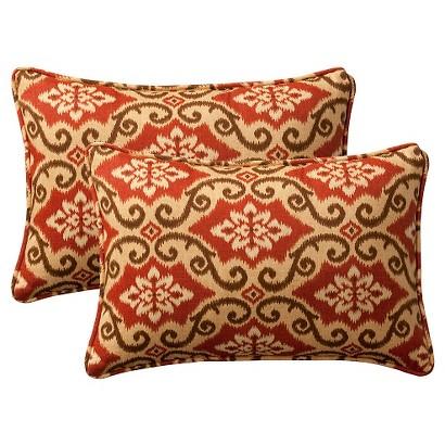 "2-Piece Outdoor Toss Pillow Set - Southwestern Tan/Orange Geometric 18"""