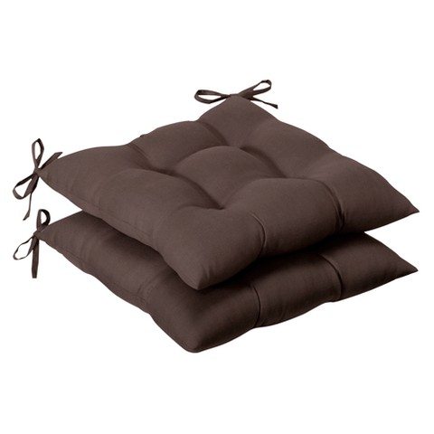 Outdoor 2-Piece Tufted Chair Cushion Set - Brown