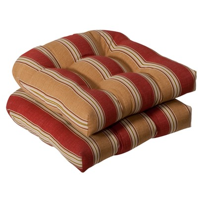 Outdoor 2-Piece Wicker Chair Cushion Set - Tan/Red Stripe
