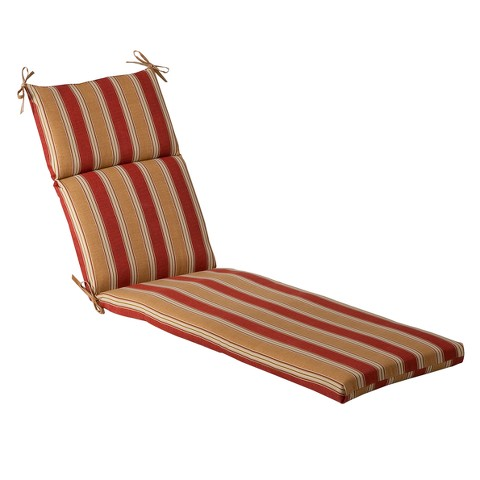 Outdoor Chaise Lounge Cushion - Tan/Red Stripe