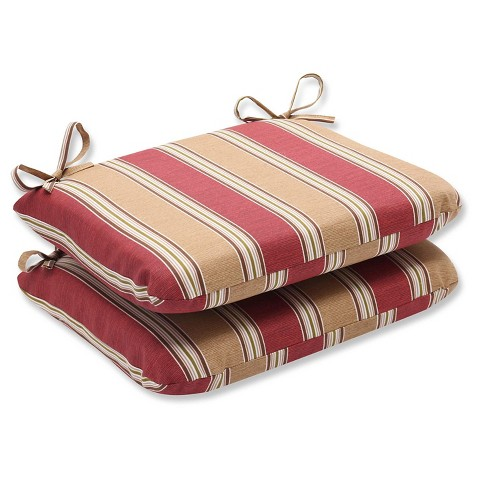Outdoor 2-Piece Chair Cushion Set - Tan/Red Stripe
