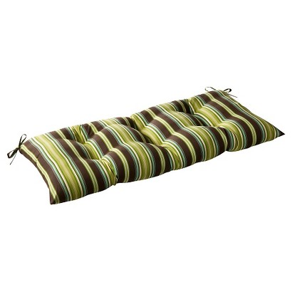 Outdoor Tufted Bench/Loveseat/Swing Cushion - Brown/Green Stripe