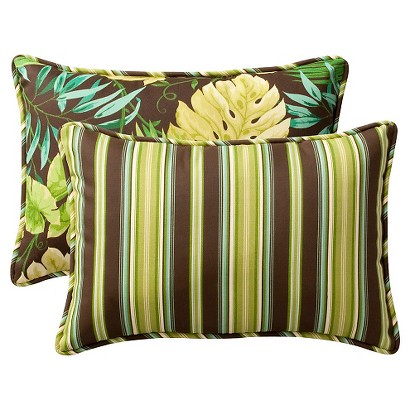 2-Piece Outdoor Reversible Toss Pillow Set - Brown/Green Floral/Stripe 24""