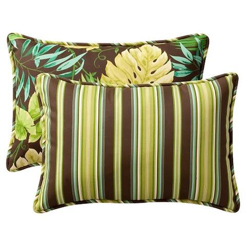 """2-Piece Outdoor Reversible Toss Pillow Set - Brown/Green Floral/Stripe 24"""""""