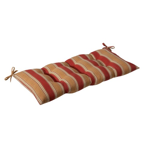 Outdoor Tufted Bench/Loveseat/Swing Cushion - Tan/Red Stripe