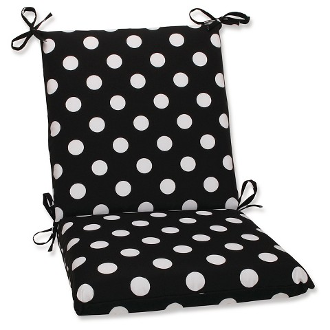 Outdoor Chair Cushion - Black/White Polka Dot