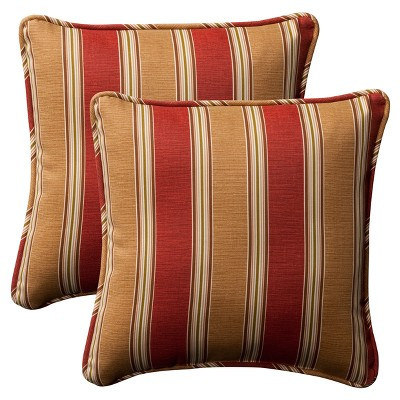 2-Piece Outdoor Toss Pillow Set - Tan/Red Stripe 18""