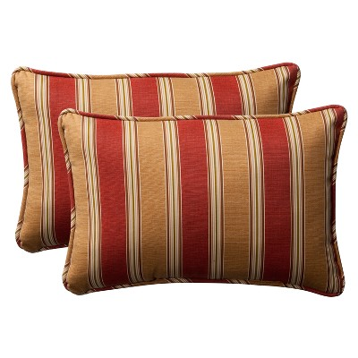 2-Piece Outdoor Toss Pillow Set - Tan/Red Stripe 24""