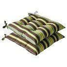 Outdoor 2-Piece Tufted Chair Cushion Set - Brown/Green Stripe