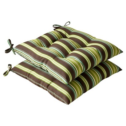Outdoor 2-Piece Tufted Chair Cushion Set - Brown/Green Stripe