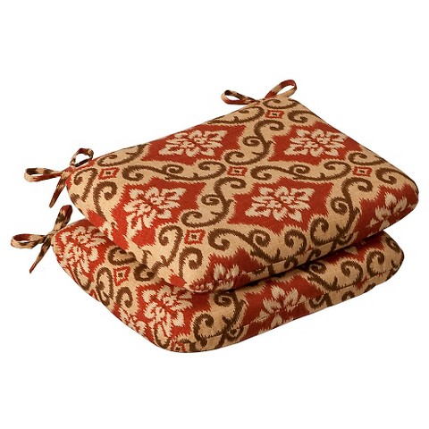 Outdoor 2-Piece Chair Cushion Set - Tan/Orange Geometric