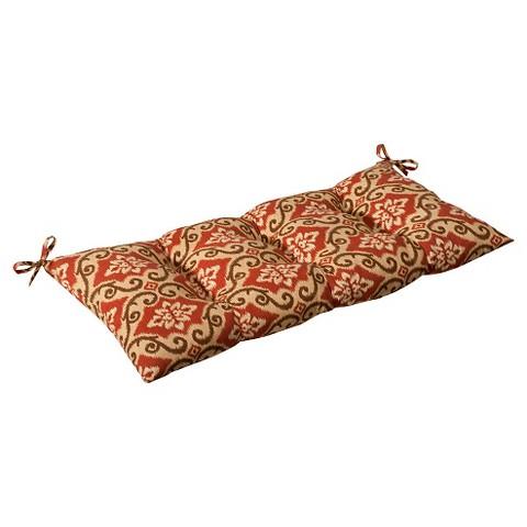 Outdoor Tufted Bench/Loveseat/Swing Cushion - Tan/Orange Geometric