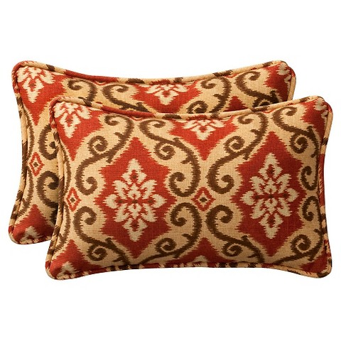 2-Piece Outdoor Toss Pillow Set - Southwestern Tan/Orange Geometric 24""