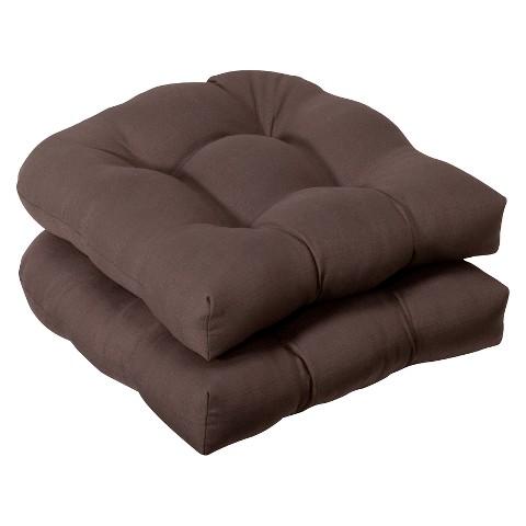 Outdoor 2-Piece Wicker Chair Cushion Set - Brown
