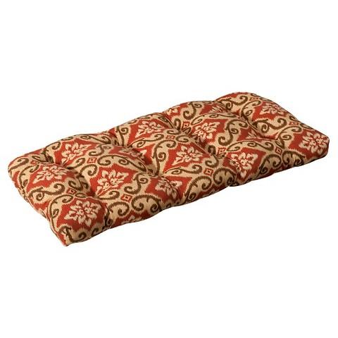 Outdoor Wicker Bench/Loveseat/Swing Cushion - Tan/Orange Geometric