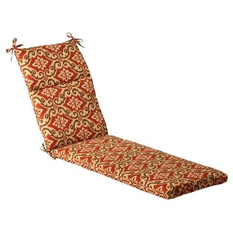 Outdoor Chaise Lounge Cushion - Tan/Orange Geometric