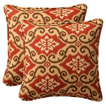 2-Piece Outdoor Toss Pillow Set - Southwestern Tan/Orange Geometric 18""