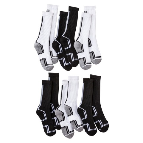 Boys' Cherokee® Black/White 6 pair Crew Socks