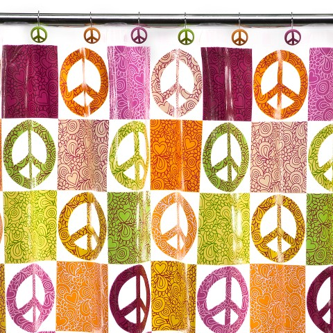 Peace Out Peva Shower Curtain - 70x72""
