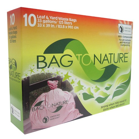 Bag To Nature Leaf and Yard Biodegradable Lawn Bags 33 Gallons 10 ct
