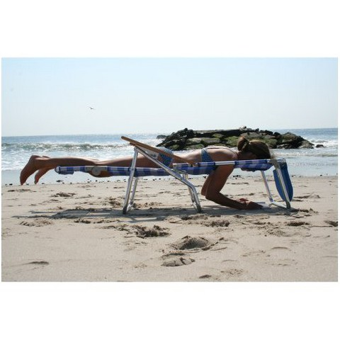 Ostrich 3 In 1 Patio Chaise Lounge Chair - Blue/White Stripe