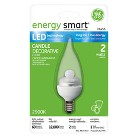 GE 2 Watt LED Bent Tip Light Bulb Candelabra Base - Clear