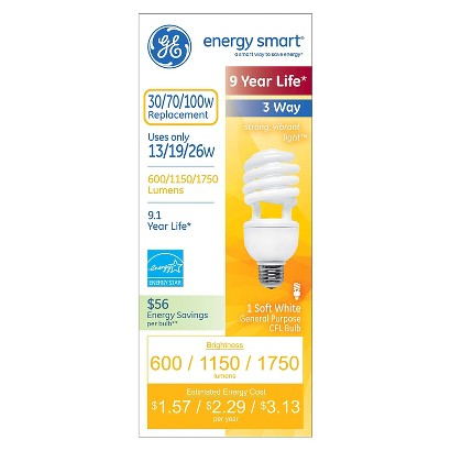GE Energy Smart 13-/19-/26-Watt 3 Way Long Life Soft White CFL Light Bulb