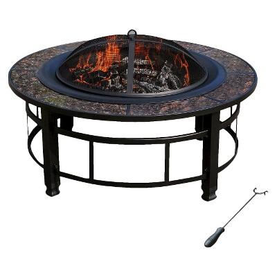 """leisurelife™ Granite Fire Pit Round – 34"""""""